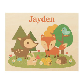 Cute Forest Woodland Animal Kids Room Décor Wood Print