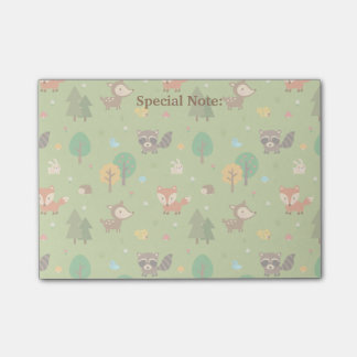 Cute Forest Woodland Animal Pattern For Kids Post-it Notes
