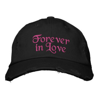 Cute Forever in Love hot pink Embroidered Hats