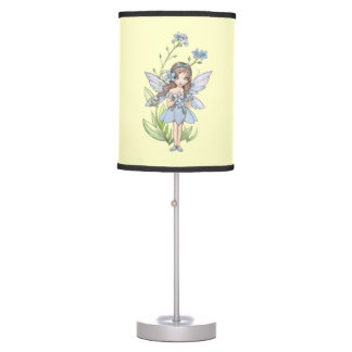 Cute Forget-Me-Not Fairy Fantasy Illustration Table Lamp