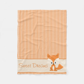 Cute Fox and Orange & Tan Stripes | Personalized Fleece Blanket