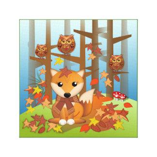 Cute fox and owl in autumn canvas print