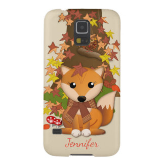 Cute fox and owl in autumn case for galaxy s5