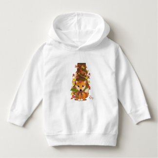 Cute fox and owl in autumn hoodie