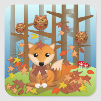 Cute fox and owls in autumn square sticker