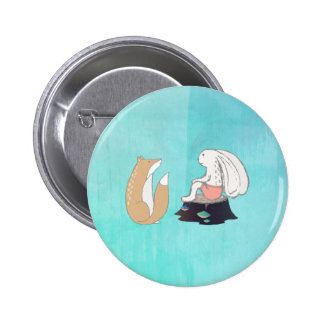 Cute Fox and Rabbit Woodland Creatures Drawing 2 Inch Round Button