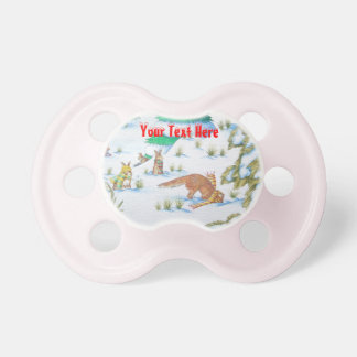 cute fox and rabbits christmas snow scene baby pacifiers