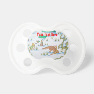 cute fox and rabbits christmas snow scene pacifier