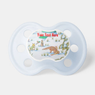 cute fox and rabbits christmas snow scene pacifiers