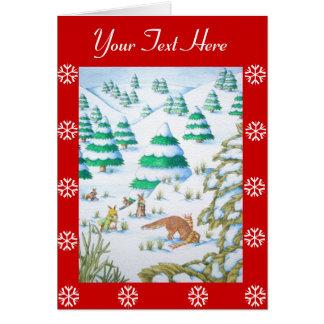 cute fox and rabbits scarfs christmas snow scene card