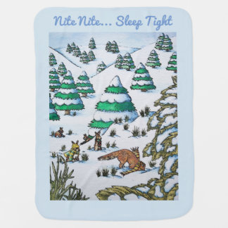 cute fox and rabbits winter snow scene baby blanket