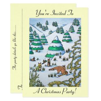 cute fox and rabbits winter snow scene invitation