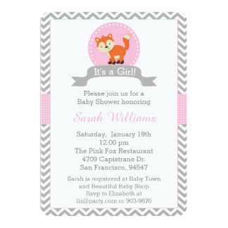 Cute Fox Baby Shower Invitation in Pink and Gray