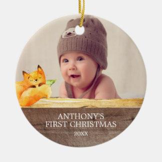 Cute Fox Baby's 1St Photo Christmas Ornament