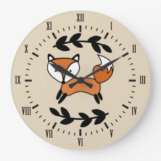 Cute Fox & Black Laurels Large Clock