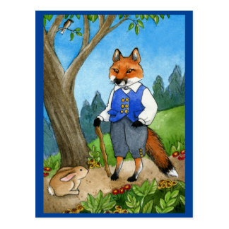 Cute fox, bunny rabbit fairy tale postcard