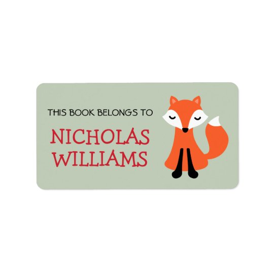 Cute fox cartoon animal bookplate book