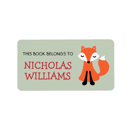 Cute fox cartoon animal bookplate book label