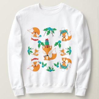 Cute Fox Christmas Theme Pattern Print Sweatshirt