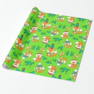 Cute Fox Christmas Theme Pattern Print Wrapping Paper