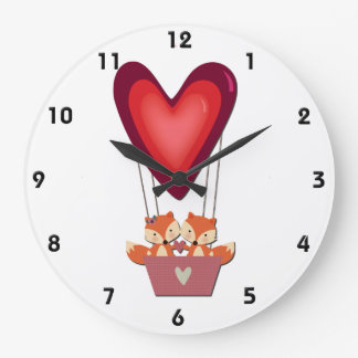 Cute Fox Couple in Heart Air Balloon Large Clock