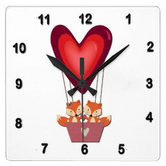 Cute Fox Couple in Heart Air Balloon Square Wall Clock
