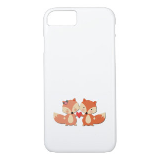 Cute Fox Couple Sharing a Heart iPhone 8/7 Case
