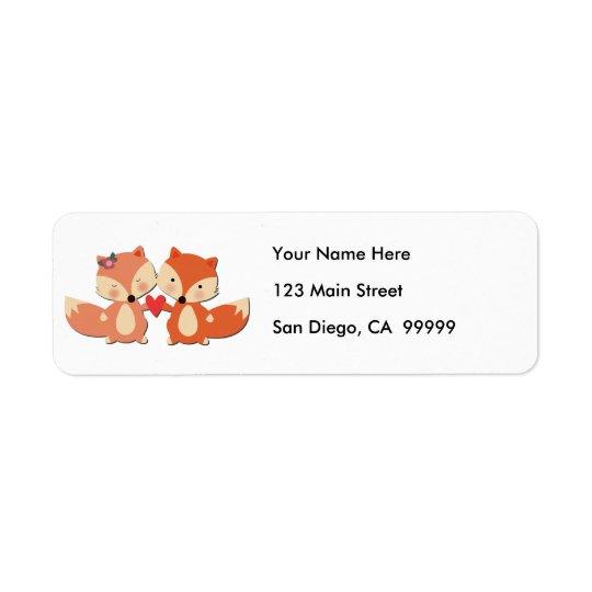Cute Fox Couple Sharing a Heart Return Address Label