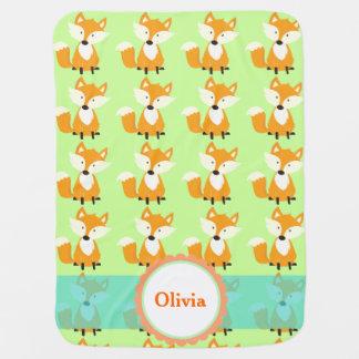 cute fox customizable baby blanket