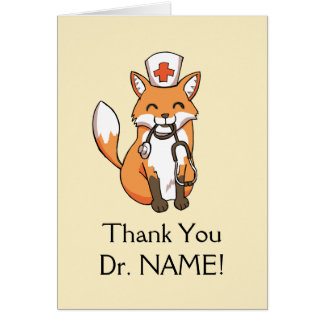 Cute Fox Drawing Thank You Card Doctor Template