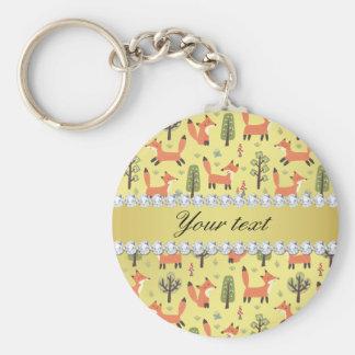 Cute Fox Faux Gold Foil Bling Diamonds Basic Round Button Keychain
