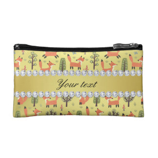 Cute Fox Faux Gold Foil Bling Diamonds Cosmetic Bags