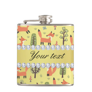 Cute Fox Faux Gold Foil Bling Diamonds Flasks