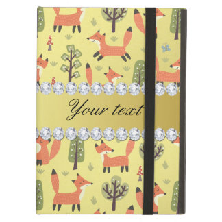 Cute Fox Faux Gold Foil Bling Diamonds iPad Air Covers