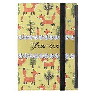 Cute Fox Faux Gold Foil Bling Diamonds iPad Mini Case