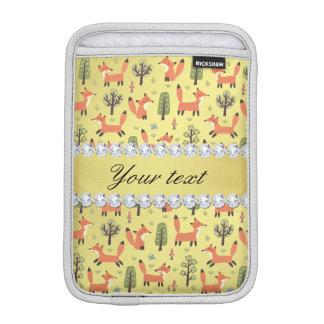 Cute Fox Faux Gold Foil Bling Diamonds iPad Mini Sleeve