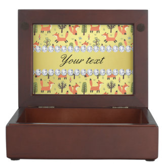 Cute Fox Faux Gold Foil Bling Diamonds Keepsake Box