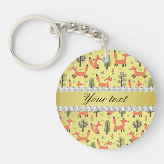Cute Fox Faux Gold Foil Bling Diamonds Keychain