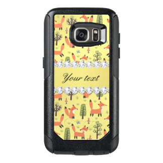 Cute Fox Faux Gold Foil Bling Diamonds OtterBox Samsung Galaxy S7 Case