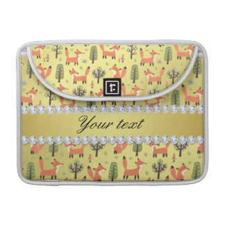 Cute Fox Faux Gold Foil Bling Diamonds Sleeve For MacBook Pro