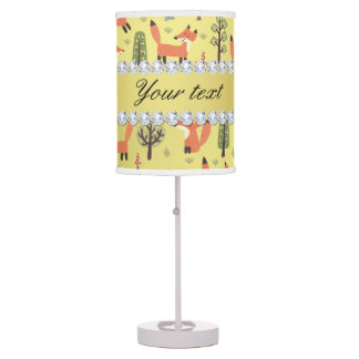 Cute Fox Faux Gold Foil Bling Diamonds Table Lamp