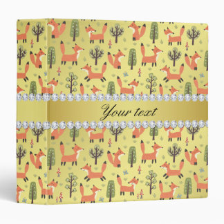 Cute Fox Faux Gold Foil Bling Diamonds Vinyl Binders