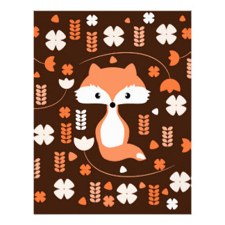 Cute fox, flowers and leaves in orange letterhead