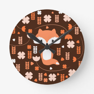 Cute fox, flowers and leaves in orange round clock