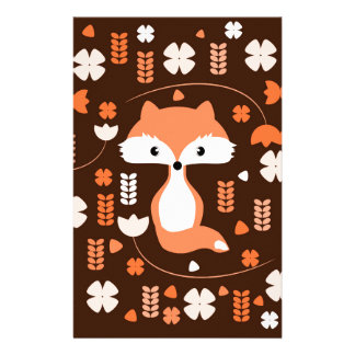 Cute fox, flowers and leaves in orange stationery