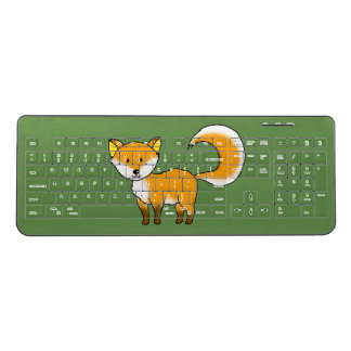 cute fox forest animal cartoon wireless keyboard