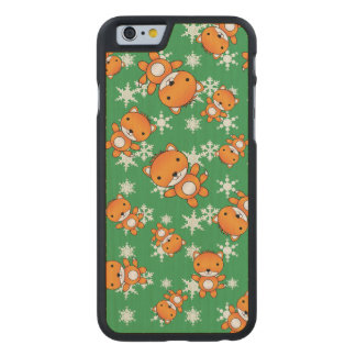 Cute fox green snowflakes carved® maple iPhone 6 slim case