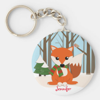 Cute Fox in a snowy forest & custom name Basic Round Button Keychain
