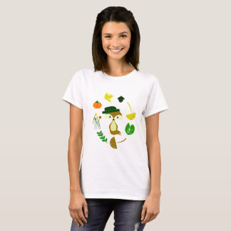 Cute fox in autumn T-shirt