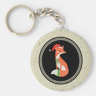 Cute Fox in Christmas Hat inside a Black Circle Keychain